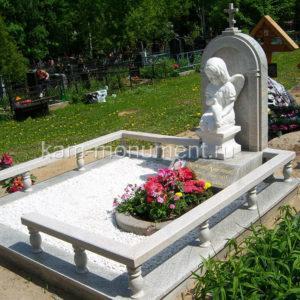 Элитные памятник N29. Мрамор Сивик, Гранит Империал Уайт, скульптура, 2009г